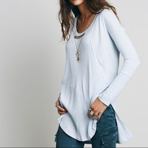 Free People Light Blue Thermal Top